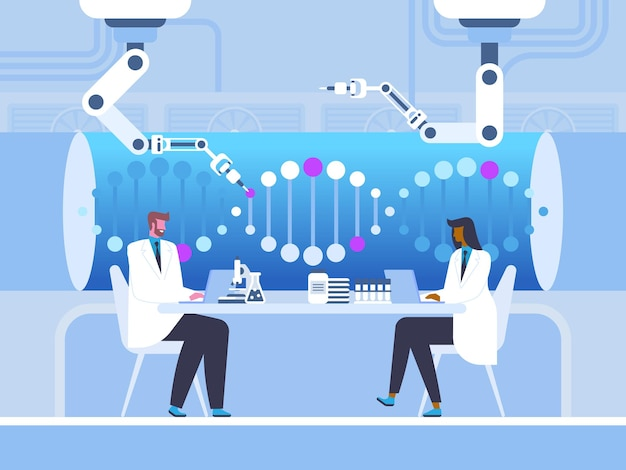 Biotechnology laboratory vector illustration male and female doctors, scientists cartoon characters