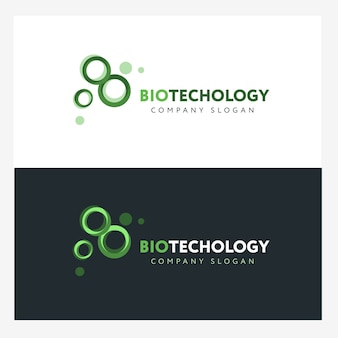 Biotechnology logo design template with abstract green cells. science company badge concep
