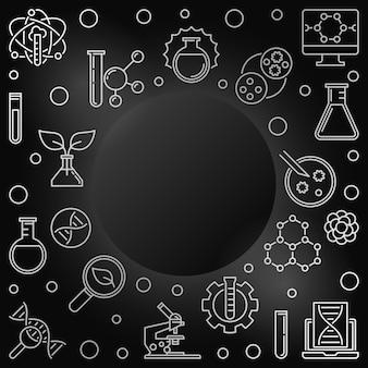 Рамка наброски биотехнологии, значок биотехнологии иллюстрации