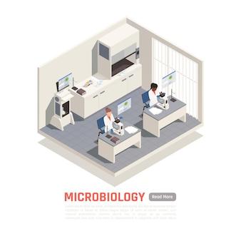 実験室の3d等角図で顕微鏡を扱うバイオテクノロジーの科学者