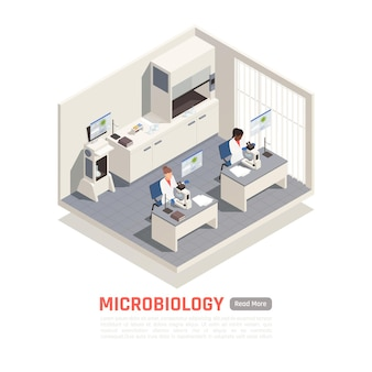 Biotechnology scientists working with microscopes in laboratory 3d isometric illustration