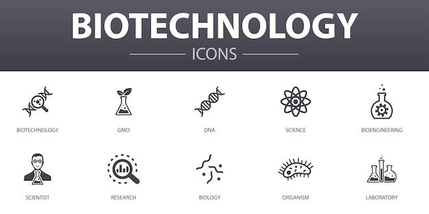 생명 공학 간단한 개념 아이콘을 설정합니다. 웹, 로고, ui/ux에 사용할 수 있는 dna, 과학, 생명공학, 생물학 등과 같은 아이콘이 포함되어 있습니다.