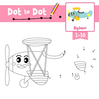 Biplane dot to dot game and coloring book