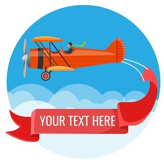 Биплан летит в облаках с пилотом и большой длинной лентой с текстами