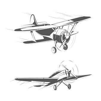 Aerei biplano e monoplano per set vettoriale vintage emblemi, distintivi e loghi. illustrazione di trasporto aereo di aviazione