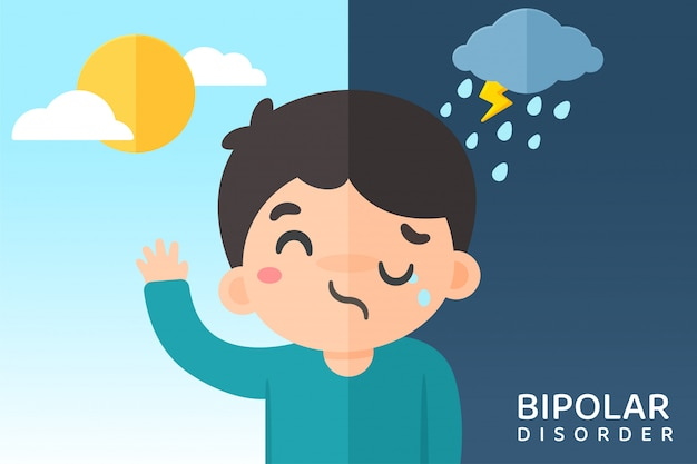 Bipolar cartoon. men with mood swings due to bipolar disorder. sometimes happy and sad to think of suicide.