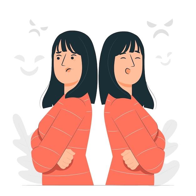 Bipolar disorder concept illustration