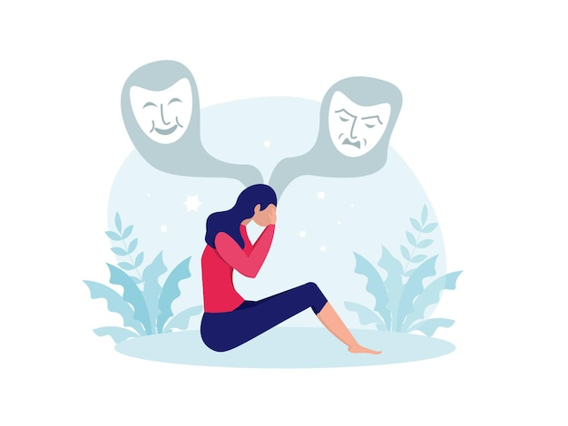 Bipolar disorder, woman suffers from hormonal with a change in mood. mental health vector illustration