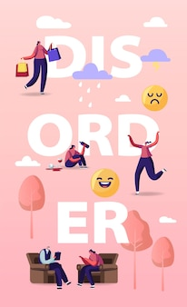 Bipolar mental brain disorder illustration.