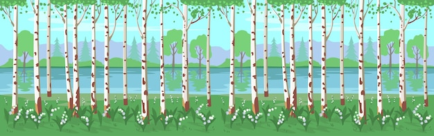 Birch grove with lilies of the valley and a river.  background