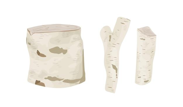 白樺の木の切り株とログのベクトルイラストセット。白い樹皮の上面と側面図のトランクパーツ。伐採された木材、工業製品、建築材料。白い背景に分離された薪。