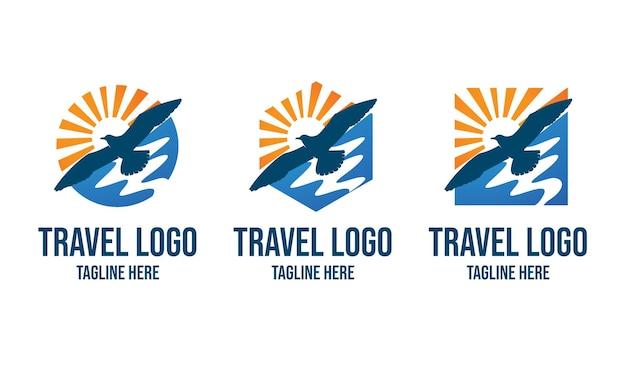 새와 해변 여행 로고 디자인