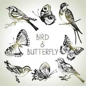 鳥と蝶のセット、手描きイラスト