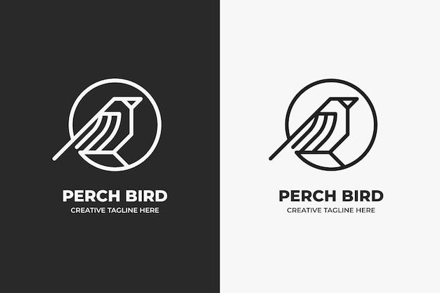 鳥とサークルのモノラインビジネスロゴ