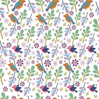 새와 꽃 또는 자연 원활한 패턴
