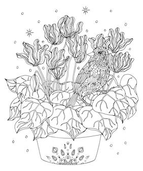 Раскраска птица и цветы атлантическая канарейка