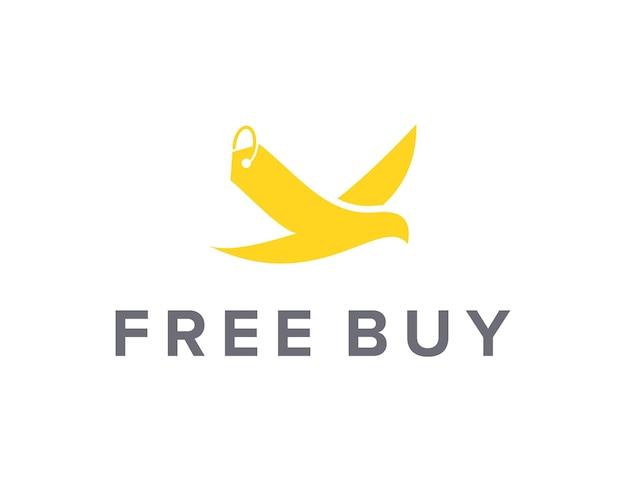 鳥とタグの価格シンプルで洗練された創造的な幾何学的なモダンなロゴデザイン