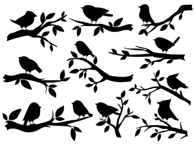 새와 나뭇가지 실루엣입니다. 귀여운 새와 나뭇가지, 낭만적인 봄 이미지, 나무 위의 검은 참새, 정원 장식 복고풍 예술, 벡터 세트. 그림 실루엣 나뭇가지 나무와 나뭇가지에 새