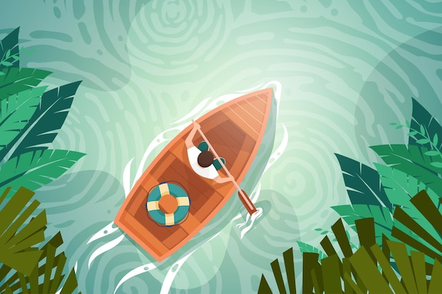 Bird angle view young man rowing in nature canal, adventure travle with boat in landscape background, human in cartoon character,  illustration