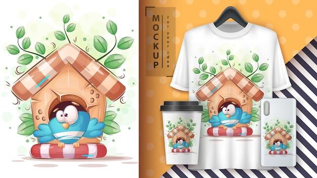 Bird in birdhouse - cute cartoon animal character. vector eps 10