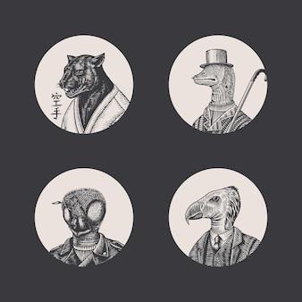새. 블랙 팬더와 비 바이커. 패션 동물 캐릭터. 손으로 그린 된 스케치