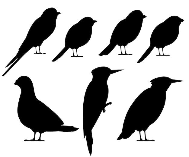鳥の黒いシルエットコレクション。ハト、スズメ、シジュウカラ、ツバメ、キツツキ、ムクドリ、ウソ。鳥のアイコン。白い背景の上の図