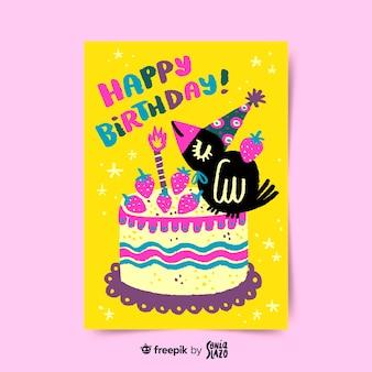 Bird blowing cake candle birthday greeting card
