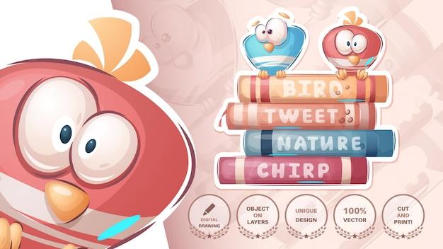 Bird on the book  cute sticker vector eps 10