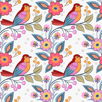 Bird on branch with flowers seamless pattern