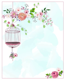 Bird cage hanging from branch with different flowers and leaves on blue watercolor background