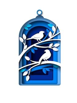 ペーパーアートスタイルのペットのポスターデザインの一時的なベクトルイラスト内の入札シルエットと鳥かご...