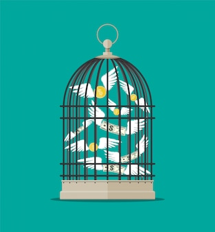 Bird cage with flying money