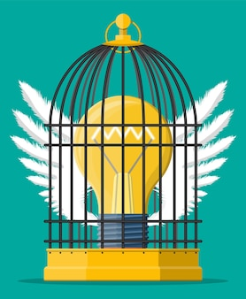 Клетка для птиц с лампочкой идеи внутри. концепция творческой идеи или вдохновения, запуск бизнеса. стеклянная колба со спиралью и крыльями в плоском стиле. векторная иллюстрация