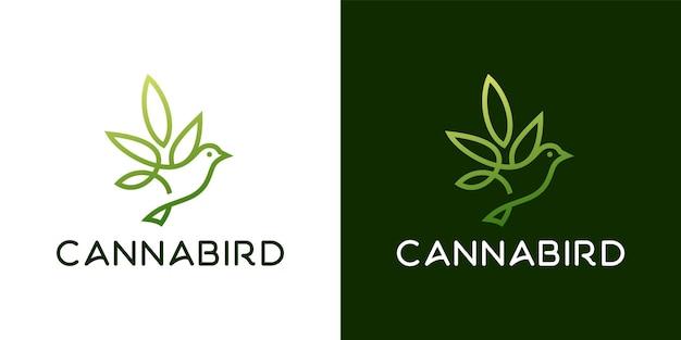 鳥大麻葉植物ロゴデザインインスピレーションテンプレート