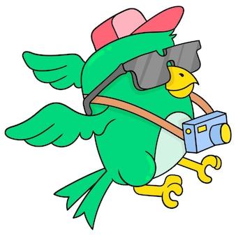 Птица с камерой как профессиональный фотограф, векторная иллюстрация искусства. каракули изображение значка каваи.