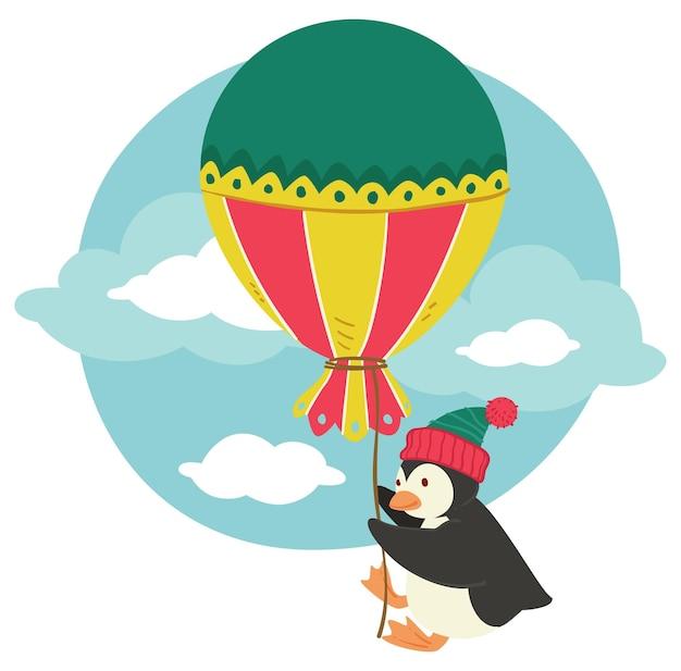 スレッドに大きなヴィンテージの風船を保持している鳥のキャラクター