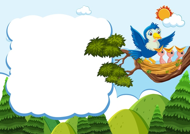 Bird and chicks banner template