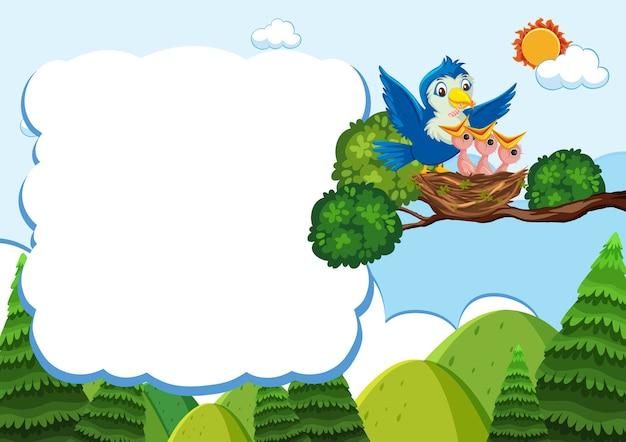 Bird and chicks banner template