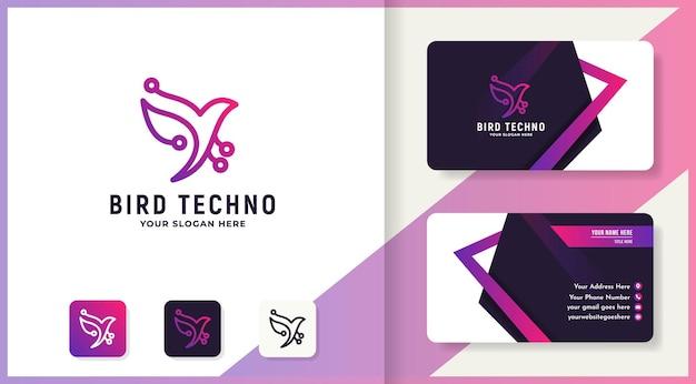 Bird circuit technology logo and business card design