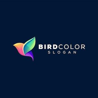 鳥の色のグラデーションのロゴのデザイン