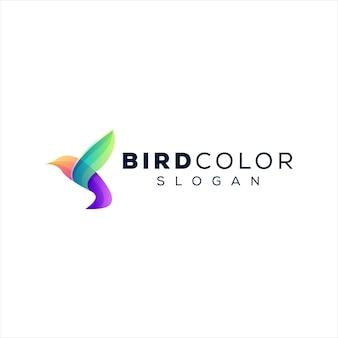 Дизайн логотипа градиента цвета птицы