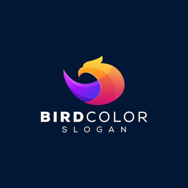 鳥の色のグラデーションのロゴ
