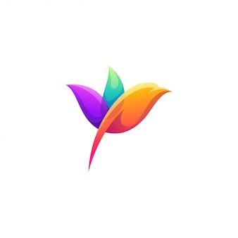 Bird color logo design vector
