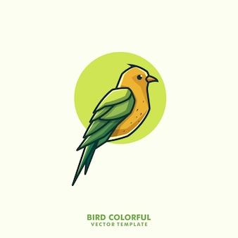 Bird colorful line art illustration vector design template