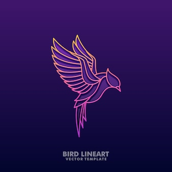 Bird colorful lineart illustration vector