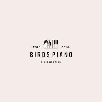 Bird competition piano music course event logo vector icon illustration