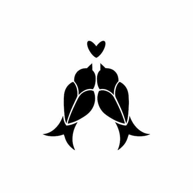 Птица пара символ логотип тату дизайн трафарет векторные иллюстрации