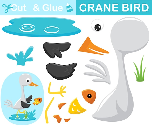 Bird crane in water chasing a fish. education paper game for children. cutout and gluing.   cartoon illustration