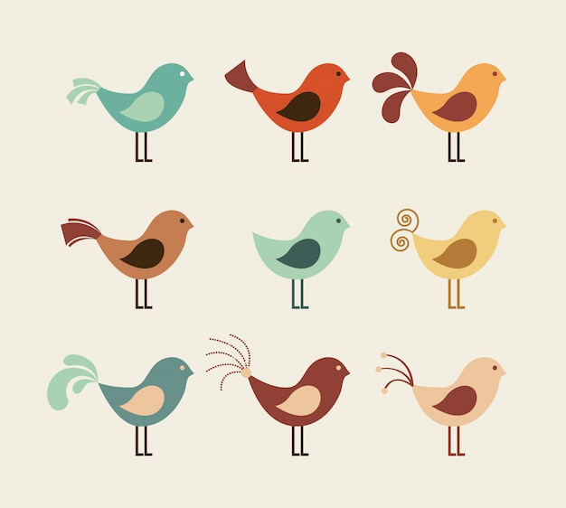 Bird design over beige background vector illustration