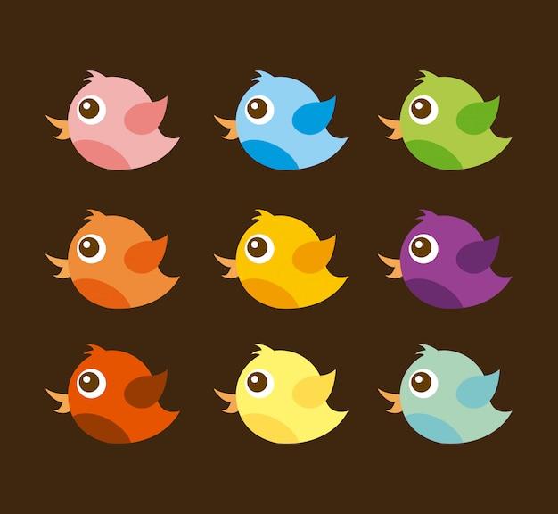 Bird design over brown background vector illustration